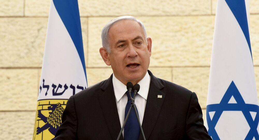 Primeiro-ministro israelense, Benjamin Netanyahu, discursa em Jerusalém, 13 de abril de 2021