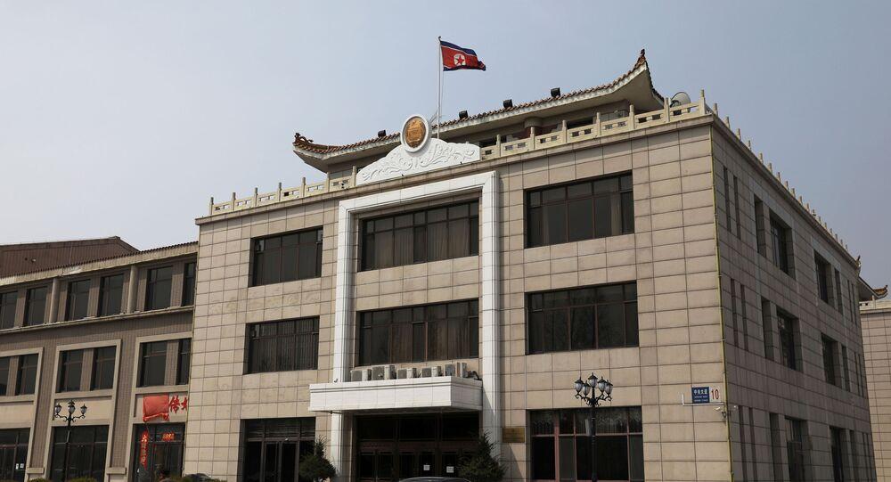 Escritório consular da Coreia do Norte em Dandong, província de Liaoning, China, 20 de abril de 2021