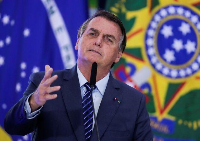 O presidente da República, Jair Bolsonaro, durante cerimônia no Palácio do Planalto, em Brasília, no dia 5 de maio de 2021