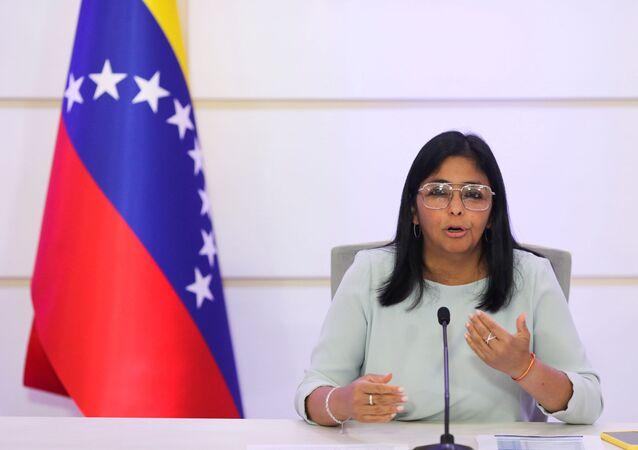 Delcy Rodríguez, vice-presidente da Venezuela, durante coletiva de imprensa em Caracas, Venezuela, 7 de abril de 2021