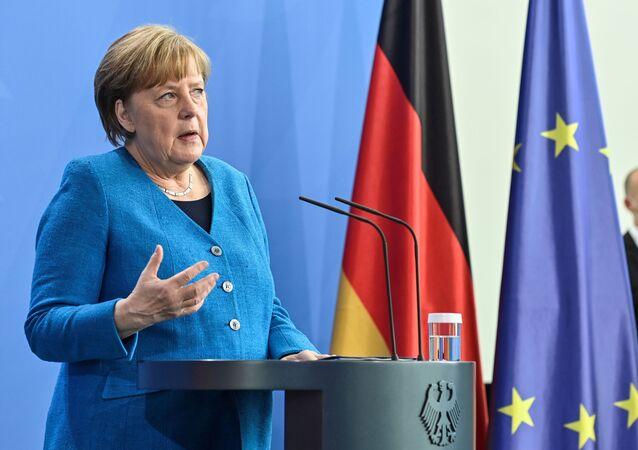 Em Berlim, na Alemanha, a chanceler alemã fala durante coletiva de imprensa, em 8 de maio de 2021