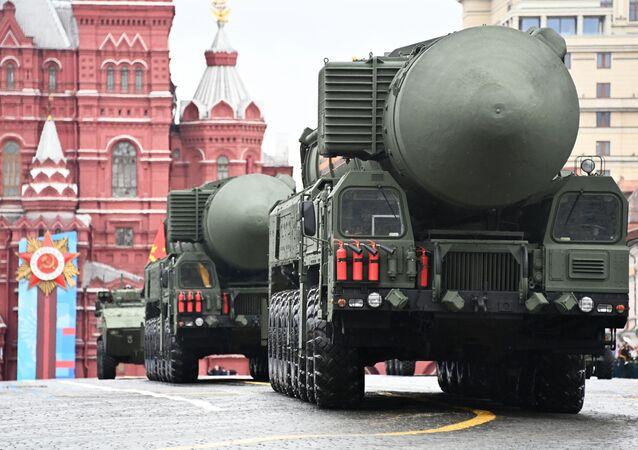 Sistema de mísseis estratégicos Yars durante o desfile militar no Dia da Vitória em Moscou, Rússia, 9 de maio de 2021