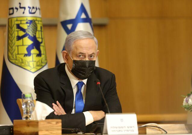 O primeiro-ministro israelense Benjamin Netanyahu participa de uma reunião de gabinete especial por ocasião do Dia de Jerusalém, em Jerusalém, 9 de maio de 2021.
