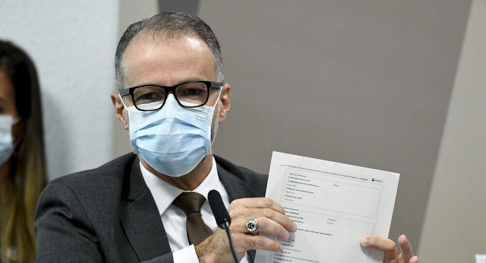 O diretor-presidente da Agência Nacional de Vigilância Sanitária (Anvisa), Antonio Barra Torres, em depoimento na Comissão Parlamentar de Inquérito (CPI) da Covid, no dia 11 de maio de 2021