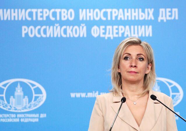 Maria Zakharova, representante oficial do Ministério das Relações Exteriores da Rússia, durante coletiva de imprensa em Moscou