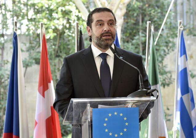 O primeiro-ministro libanês, Saad Hariri, fala durante a abertura oficial do novo edifício da delegação da União Europeia ao Líbano, em Beirute, Líbano, na terça-feira, 26 de fevereiro de 2019.