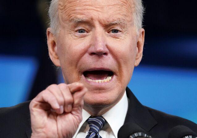 Presidente dos EUA, Joe Biden, na Casa Branca, em 12 de maio de 2021