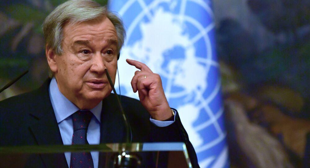 Secretário-geral da ONU, António Guterres, durante coletiva de imprensa conjunta com chanceler russo em Moscou, 12 de maio de 2021