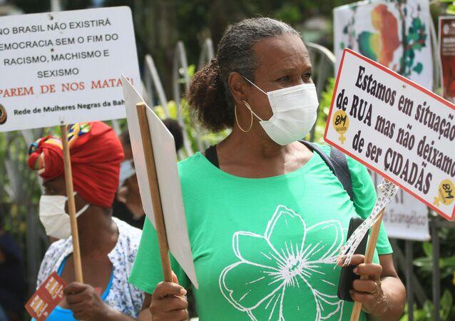 Ato no dia 13 de Maio de 2021 denuncia o racismo na sociedade brasileira, na Praça Piedade, em Salvador (BA)