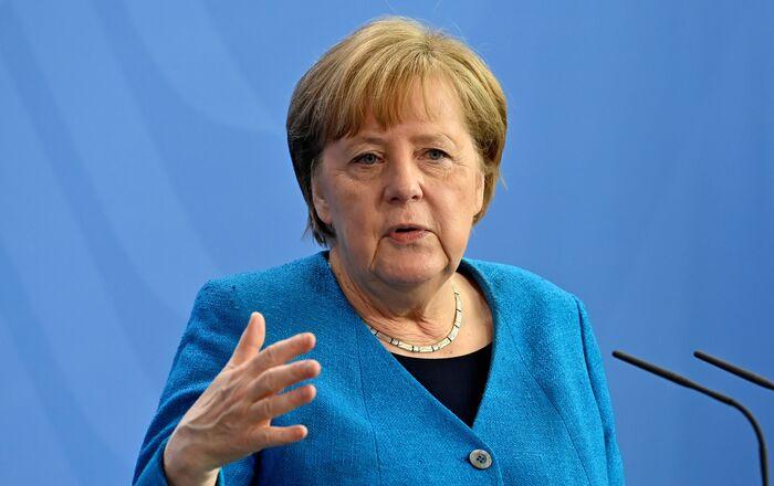 Angela Merkel, chanceler da Alemanha, fala durante coletiva de imprensa em Berlim, Alemanha, 8 de maio de 2021