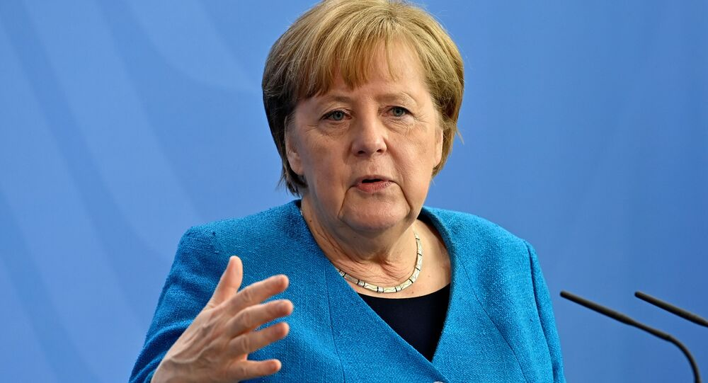 German Chancellor Angela Merkel speaks during a news conference in Berlin, Germany May 8, 2021.