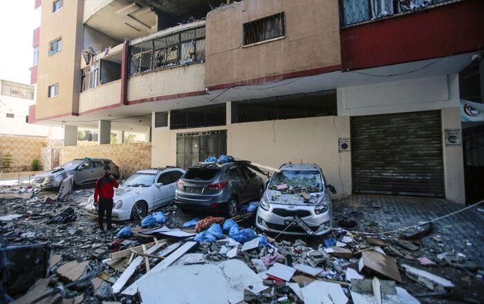 Destruição causada pelos ataques contra a Faixa de Gaza