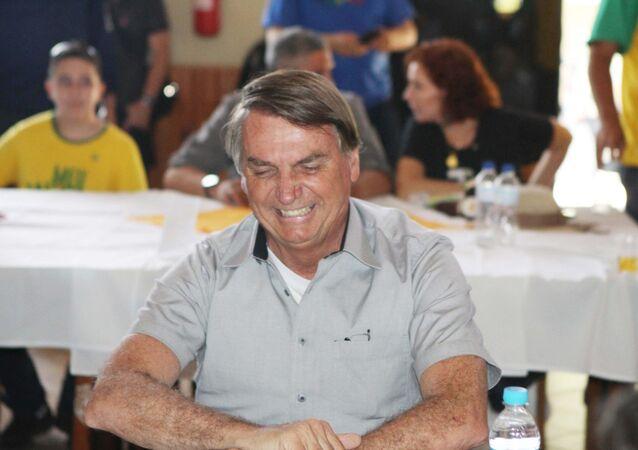 O presidente Jair Bolsonaro almoça no Centro de Tradições Gaúchas em Brasília (DF), com produtores e empresários do agronegócio, neste sábado (15)
