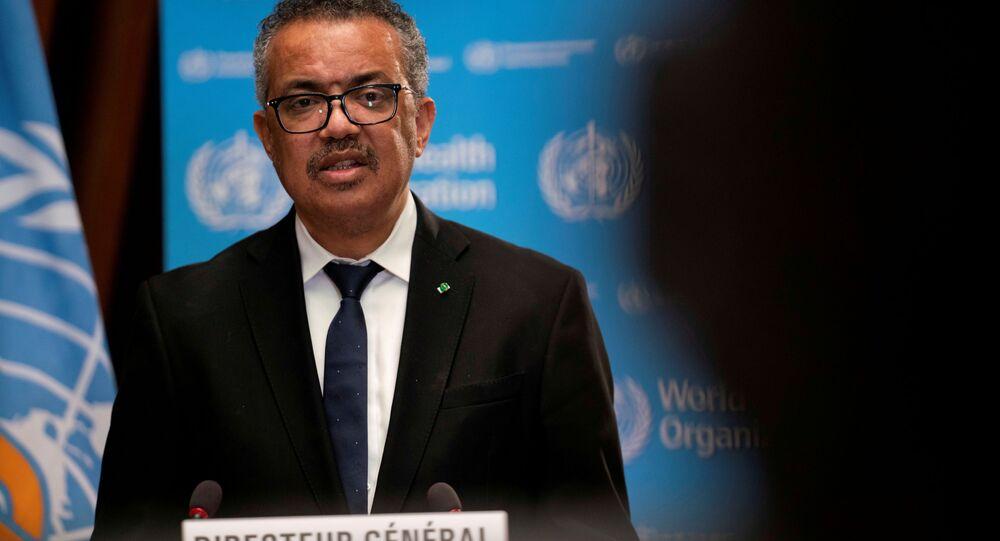 Tedros Adhanom Ghebreyesus, diretor-geral da Organização Mundial da Saúde (OMS) fala durante abertura da 148ª sessão do Conselho Executivo da organização sobre a pandemia do novo coronavírus (SARS-CoV-2) em Genebra, Suíça, 18 de janeiro de 2021