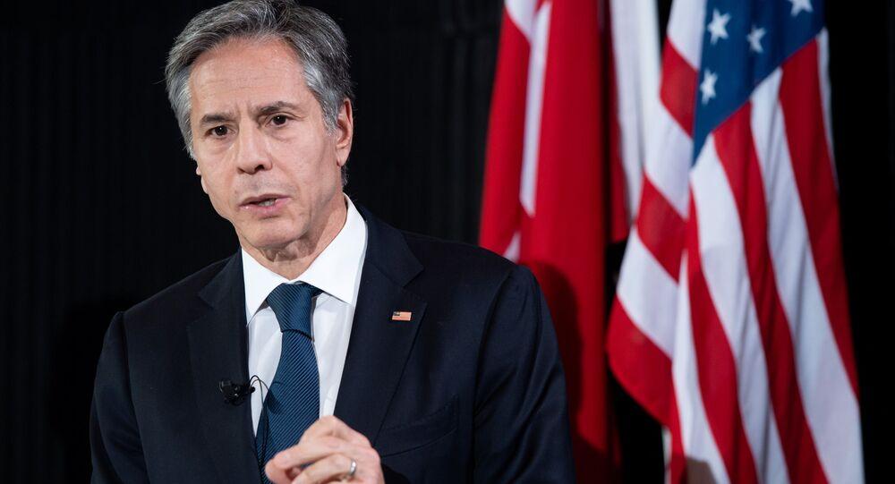 Secretário de Estado dos EUA, Antony Blinken, fala durante entrevista coletiva após reuniões no Ministério das Relações Exteriores da Dinamarca em Copenhagen