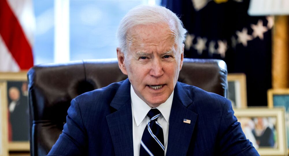 O presidente dos Estados Unidos, Joe Biden, no Salão Oval da Casa Branca, em Washington, no dia 11 de março de 2021