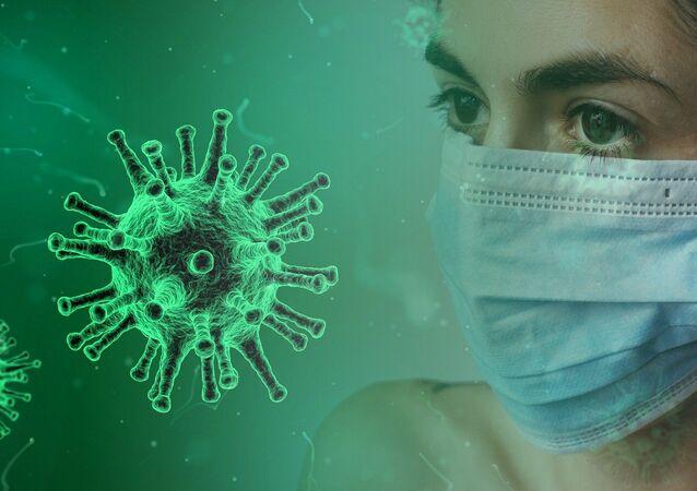 Imagem ilustrativa de uma mulher de máscara e do vírus SARS-CoV-2