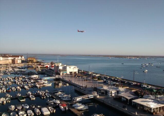 Vista aérea da marina de Faro, no Algarve.