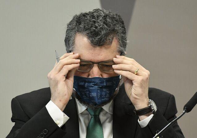 O ex-ministro das Relações Exteriores, Ernesto Araújo, em depoimento na CPI da Covid, no dia 18 de maio de 2021