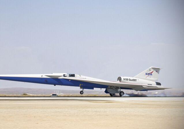 Avião da NASA X-59 Quiet SuperSonic Technology (Tecnologia Supersônica Silenciosa)