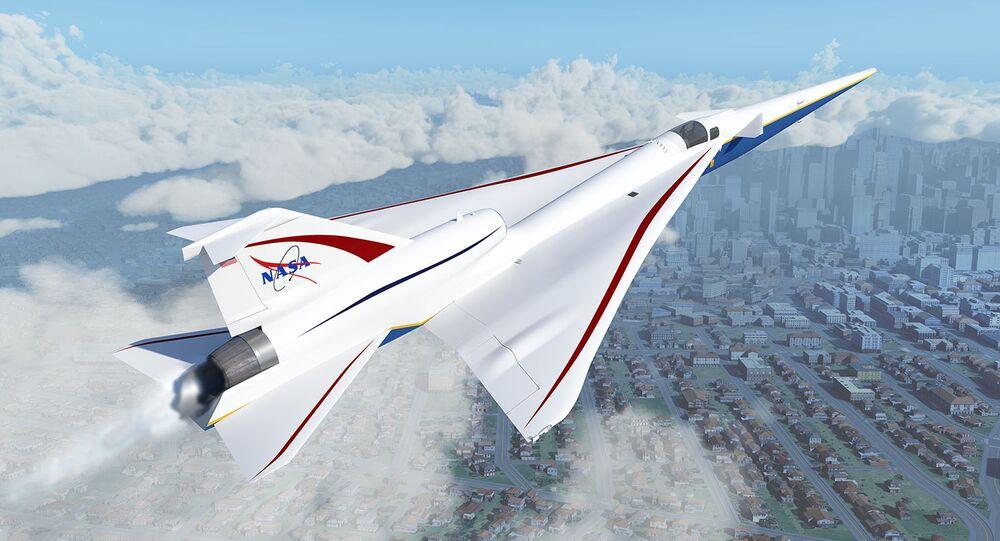 Avião X-59 da NASA, projetado para reduzir o estrondo sônico escutado no solo quando uma aeronave voa a velocidades supersônicas