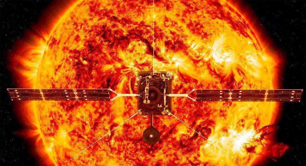 Ilustração disponibilizada pela NASA mostra a sonda Solar Orbiter em frente ao Sol