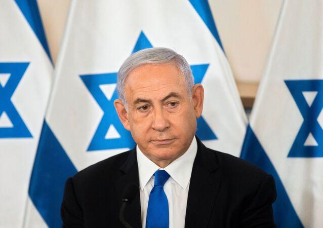 Primeiro-ministro de Israel, Benjamin Netanyahu, durante o briefing com embaixadores em base militar em Tel Aviv, Israel, 19 de maio de 2021
