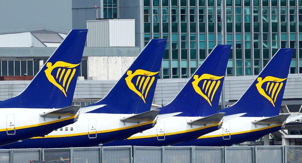 Aviões da companhia aérea Ryanair no Aeroporto de Dublin, em meio à pandemia da COVID-19, em Dublin, República da Irlanda, 1º de maio de 2020