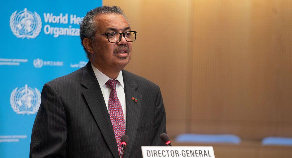 Diretor-geral da Organização Mundial da Saúde (OMS), Tedros Adhanom Ghebreyesus, durante a reunião anual da agência das Nações Unidas, 24 de maio de 2021