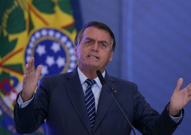 Presidente Jair Bolsonaro durante abertura da Semana das Comunicações, no Palácio do Planalto, em Brasília
