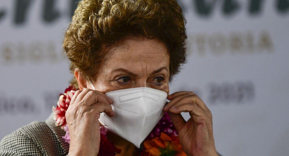 Ex-presidente Dilma Rousseff durante as comemorações dos 700 anos da fundação da cidade asteca de Tenochtitlán, na Cidade do México, no dia 13 de maio de 2021