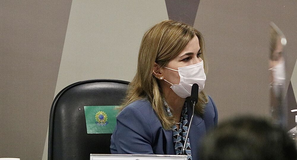 Secretária do Ministério da Saúde, Mayra Pinheiro, depõe na CPI da Covid no Senado Federal em Brasília (DF)