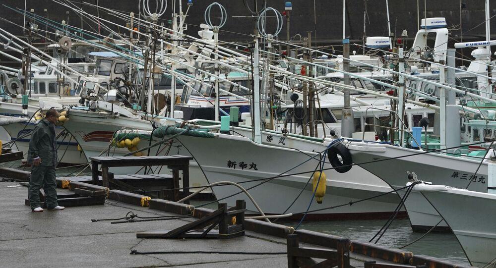 Em Kiho, no Japão, um pescador observa navios pesqueiros em meio à chegada do Tufão Hagibis, em 12 de outubro de 2019
