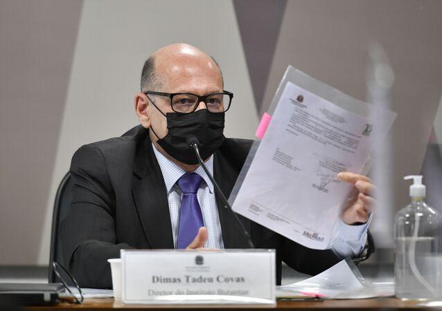 Diretor do Instituto Butantan, Dimas Covas, presta depoimento na CPI da Covid, no Senado, em Brasília