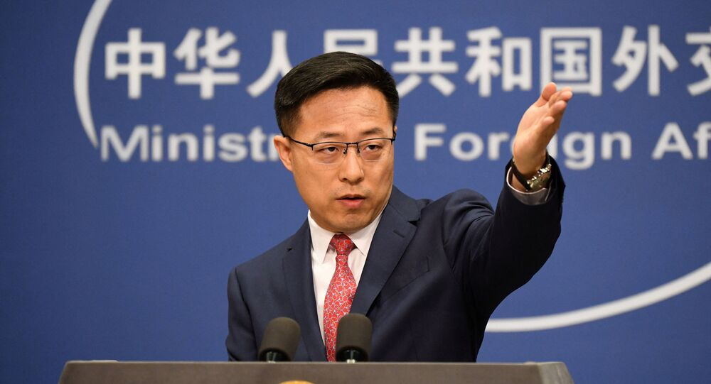 O porta-voz do Ministério das Relações Exteriores da China, Zhao Lijian, em Pequim, no dia 8 de abril de 2020