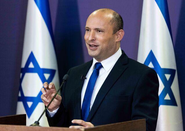 Político israelense Naftali Bennett faz discurso no Knesset, Parlamento de Israel, Jerusalém, 30 de maio de 2021