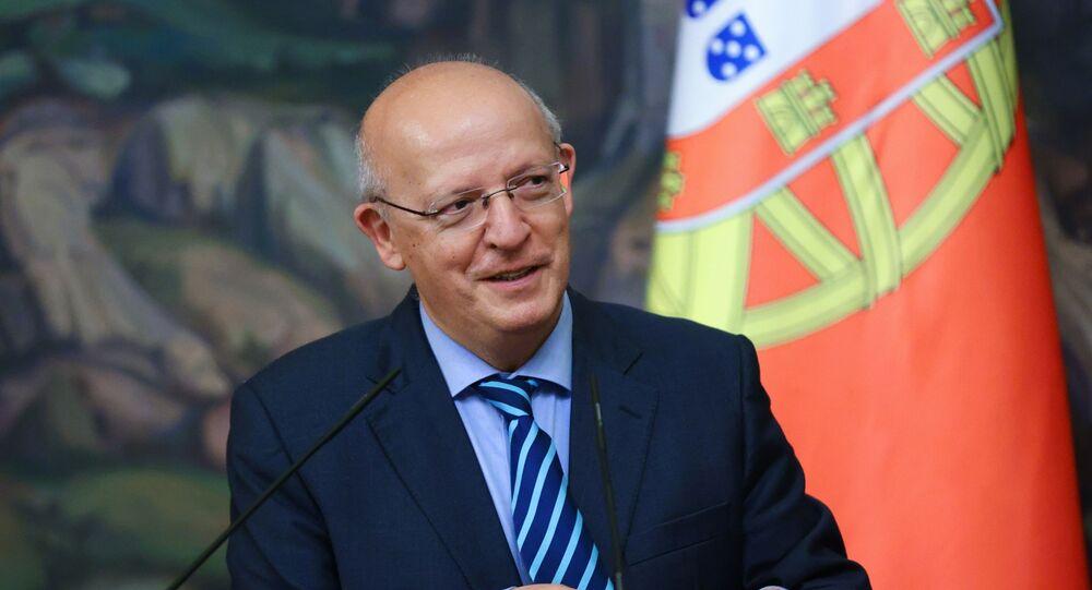 Сhanceler de Portugal, Augusto Santos Silva, no final de conversações com seu homólogo russo em 31 de maio de 2021