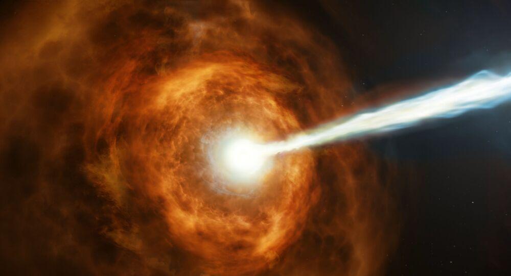 Representação artística da explosão de raios gama GRB 190114C