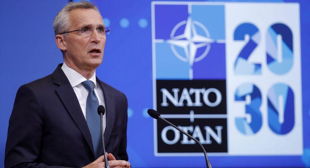 Jens Stoltenberg, secretário-geral da OTAN, dá coletiva de imprensa na sede da Aliança Atlântica em Bruxelas, Bélgica, 31 de maio de 2021