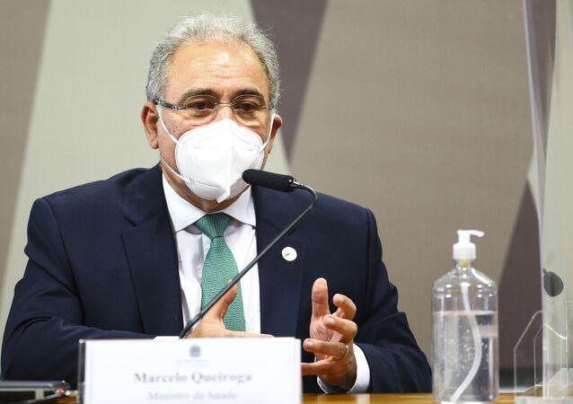 O ministro da Saúde, Marcelo Queiroga, durante sessão da CPI da Pandemia, no Senado, 6 de maio de 2021