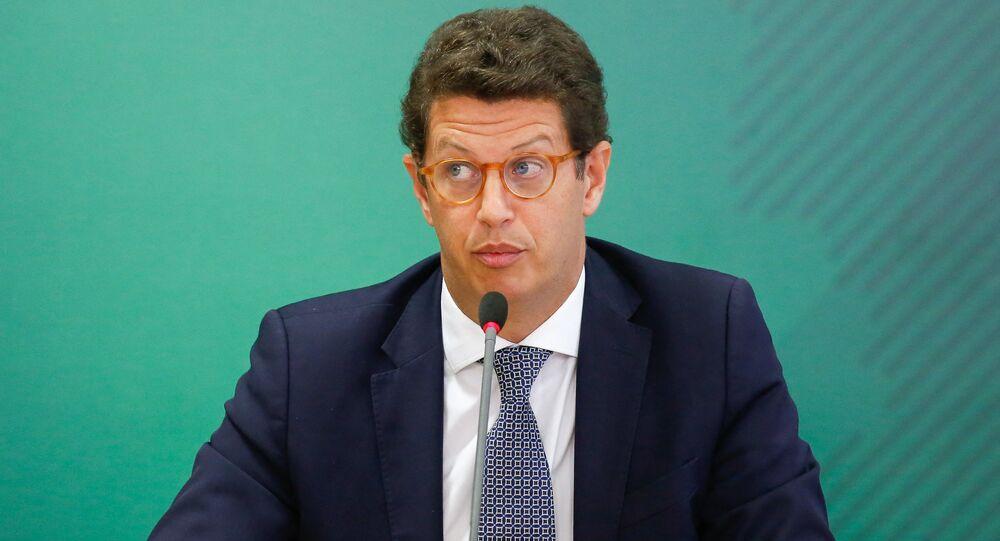 Ministro do Meio Ambiente do Brasil, Ricardo Salles, durante coletiva de imprensa, 22 de abril de 2021