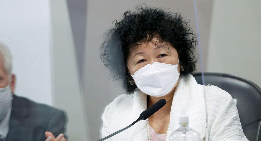 A médica Nise Yamaguchi durante depoimento na CPI da Covid, no dia 1º de junho de 2021