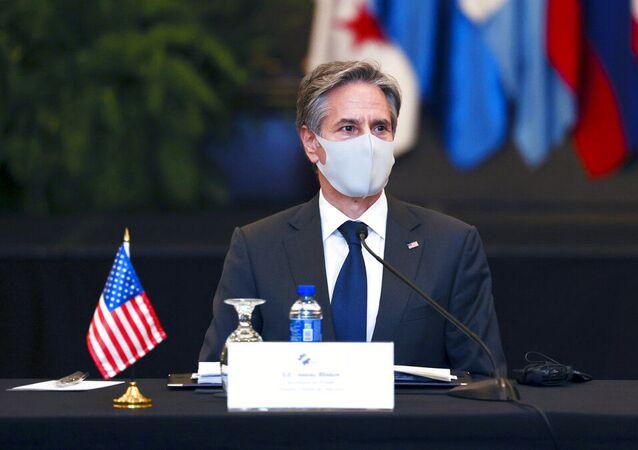 O secretário de Estado dos Estados Unidos, Antony Blinken, participa de reunião em San José, Costa Rica, terça-feira, 1º de junho de 2021
