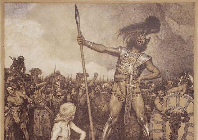 Litografia Davi e Golias, Osmar Schindler, 1888