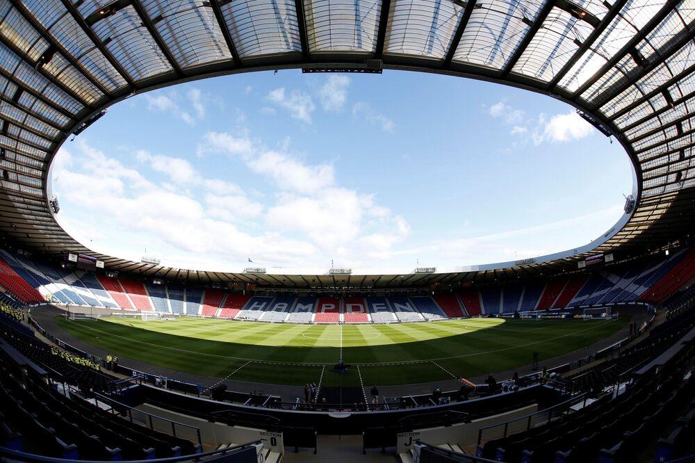 Vista geral do estádio de futebol Hampden Park em Glasgow, Escócia