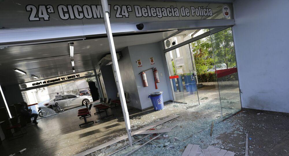 Delegacia de policia no centro de Manaus e vista após ter sido alvo de tiros durante um atentado reivindicado pelo crime organizado durante a manha desta segunda-feira, 7 de junho de 2021