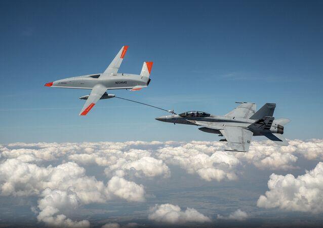 Teste do drone de reabastecimento MQ-25 T1, da Boeing