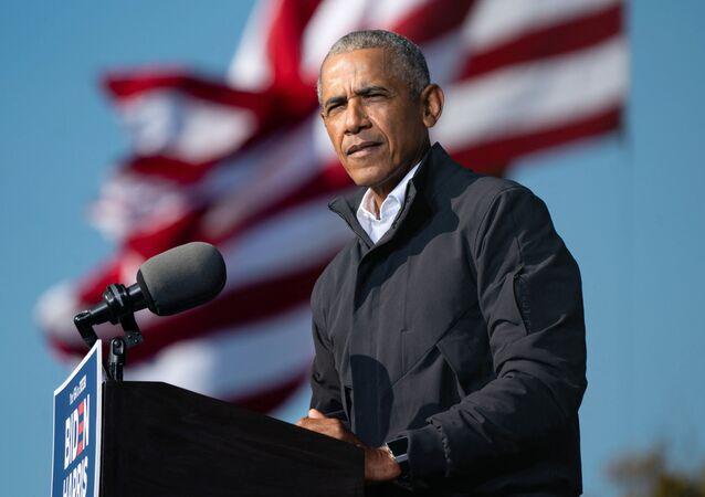 Ex-presidente Barack Obama pede voto para o democrata Joe Biden durante as eleições presidenciais dos EUA de 2020. Foto de arquivo