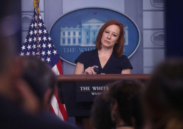 Jen Psaki, secretária de imprensa da Casa Branca, realiza coletiva de imprensa na Casa Branca em Washington, EUA, 8 de junho de 2021