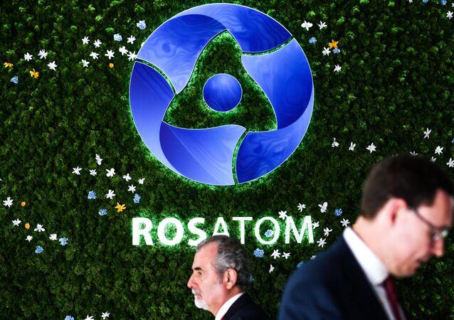 Logo da corporação estatal russa Rosatom